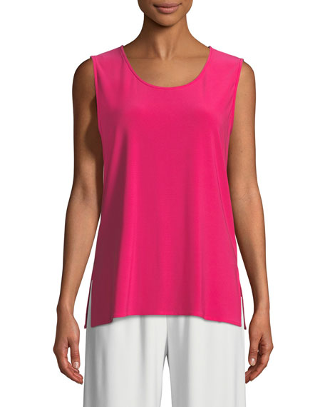 Caroline Rose  SLEEVELESS LONG STRETCH KNIT TANK, PLUS SIZE