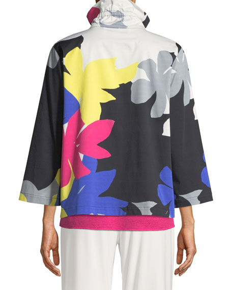 Petal Pusher Printed Jacket, Plus Size