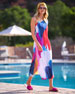 Clara One-Shoulder Watercolor-Print Coverup Maxi Dress