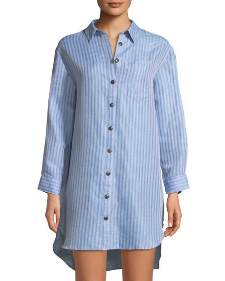 Mara Hoffman Bennett Button-Front Striped Coverup Shirt