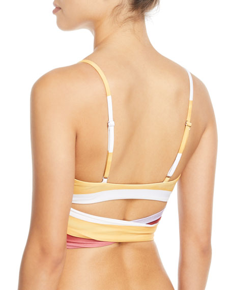 Mila Striped Wrap Swim Top