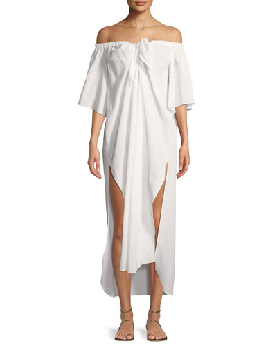 Kamala Off-the-Shoulder Short-Sleeve Coverup Dress