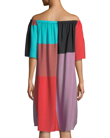 Lula Tonal-Striped Colorblock Coverup Dress