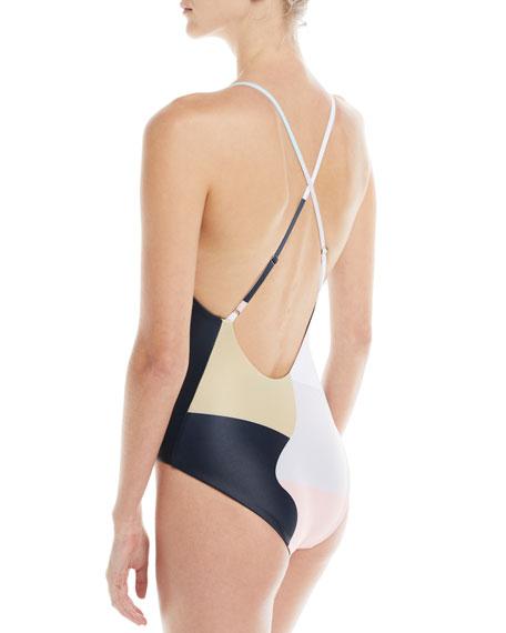 Emma Floral-Print V-Neck One-Piece Swimsuit