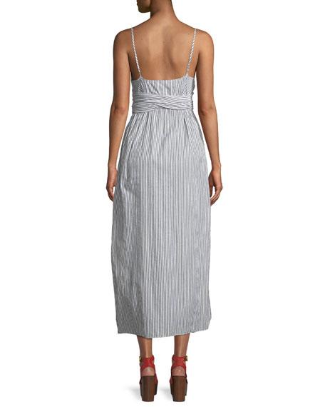 Thora Striped Crisscross Self-Tie Cotton Dress