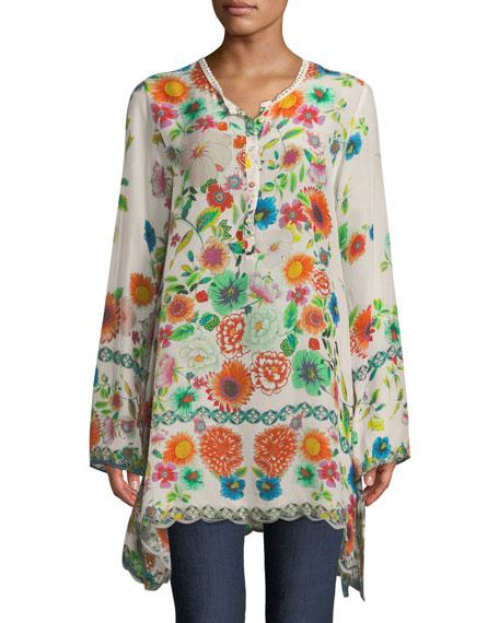 Mala Floral-Print Silk Blouse