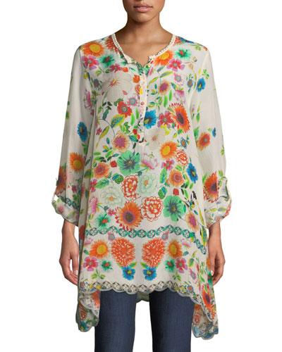 Mala Floral-Print Silk Blouse, Plus Size