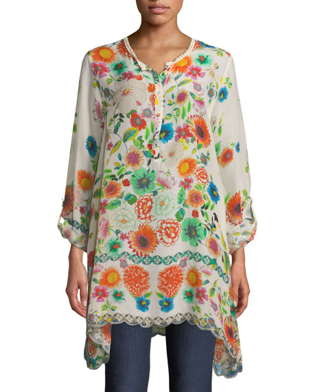 Johnny Was Mala Floral-Print Silk Blouse, Plus Size