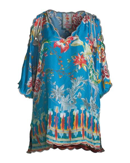 Betimo Cold-Shoulder Floral-Print Silk Blouse, Plus Size