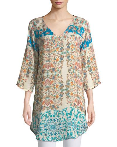 Betty Half-Sleeve Floral-Print Blouse