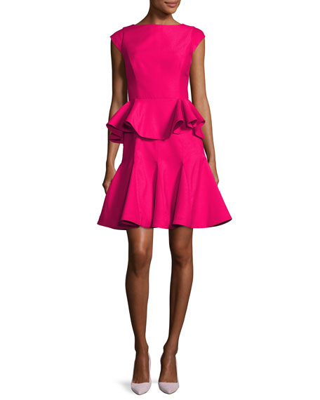 Halston Heritage Cap-Sleeve Structured Tiered Flounce Cocktail
