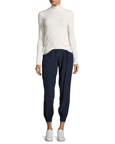 Cropped Pants W/ Elastic Cuffs