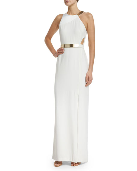 Halston Heritage Sleeveless Column Gown W/Cutouts, Eggshell