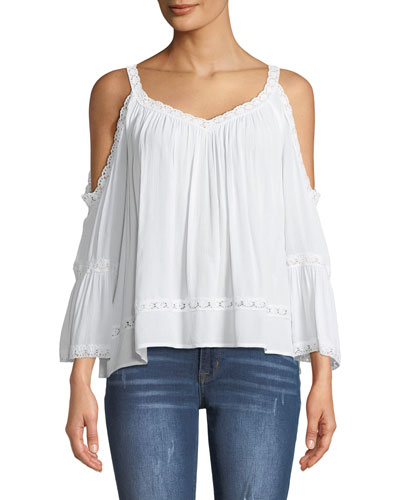 Deneuve Eyelet Cold Shoulder Top