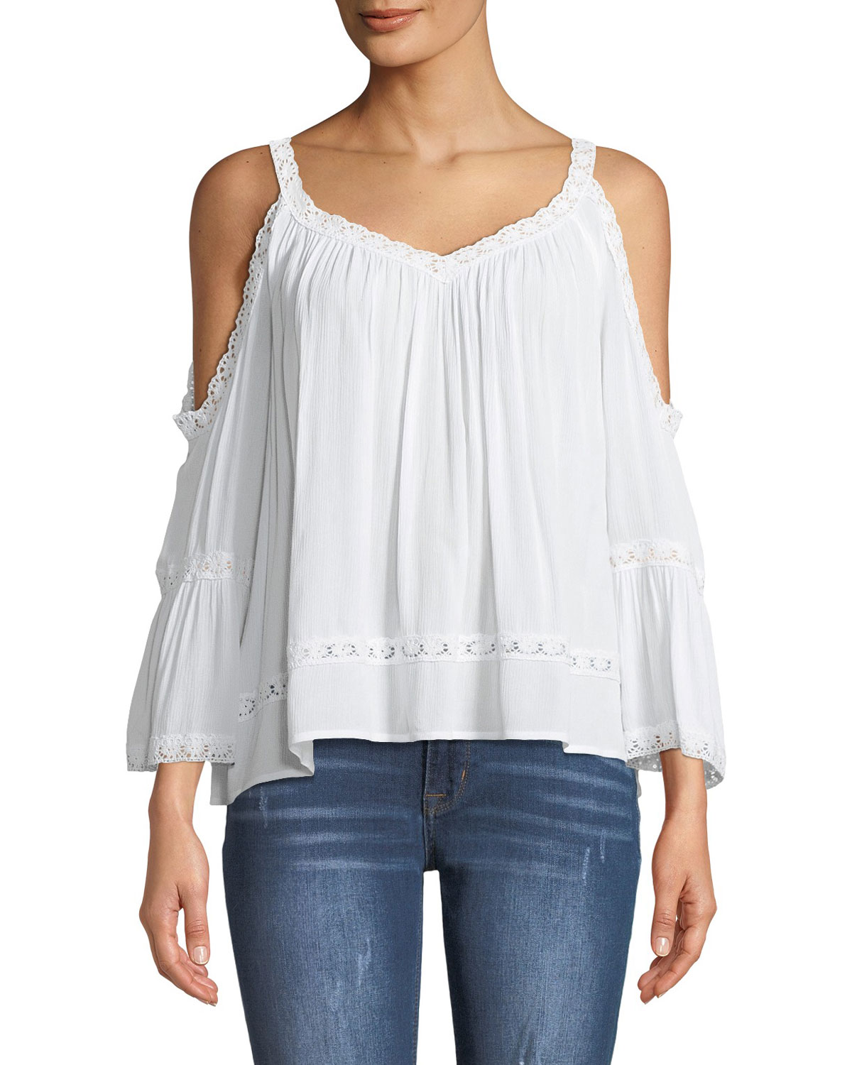 0f3e7aab2b6e86 Rebecca Minkoff Deneuve Eyelet Cold Shoulder Top