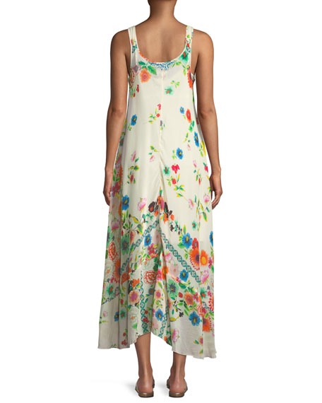 Forma Handkerchief-Hem Floral-Print Tank Dress