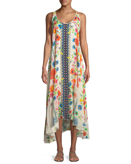Johnny Was Forma Handkerchief-Hem Floral-Print Tank Dress