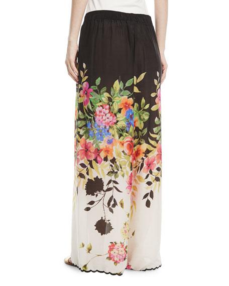 Maya Floral-Print Wrap Pants, Plus Size
