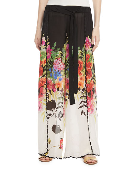 Maya Floral-Print Wrap Pants, Plus Size
