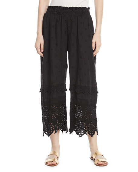 Eyelet-Trim Linen Crop Pants, Plus Size