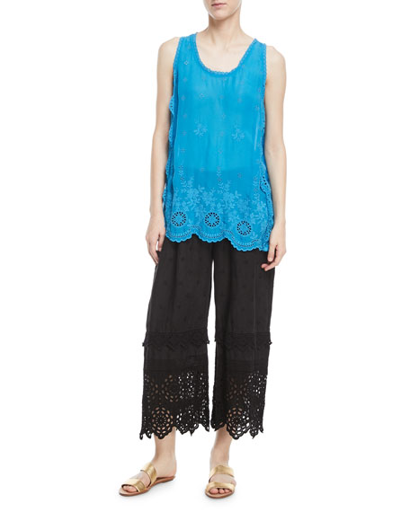 Eyelet-Trim Linen Crop Pants