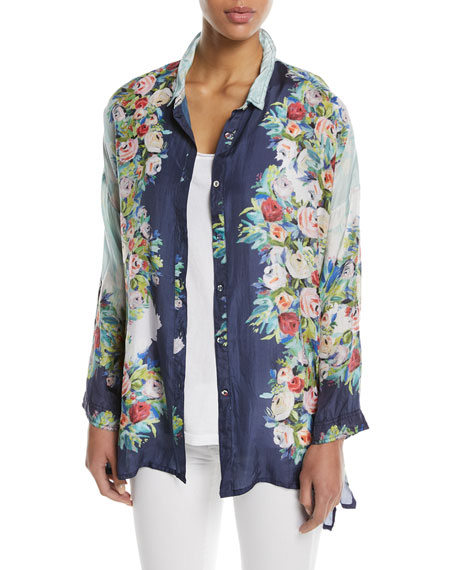 Johnny Was Madeline Floral Silk Button-Front Top, Plus
