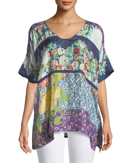 Johnny Was Golding Graphic-Print Silk Top, Plus Size
