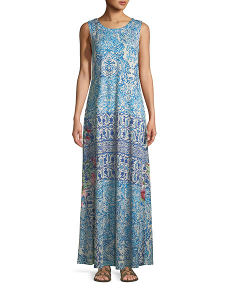 Johnny Was Greidon Sleeveless Graphic-Print Maxi Dress