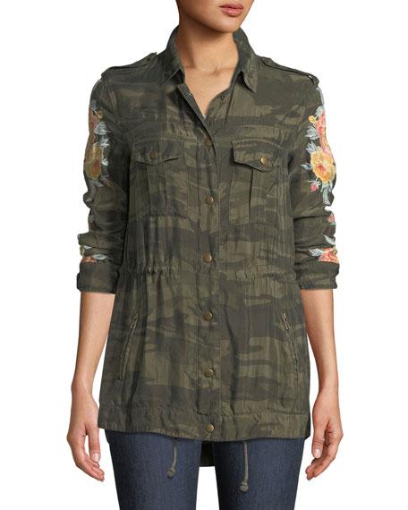 Brenna Embroidered Bomber Jacket, Plus Size