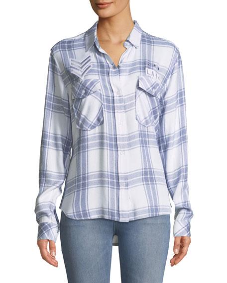 Pepper Button-Front Long-Sleeve Plaid Shirt