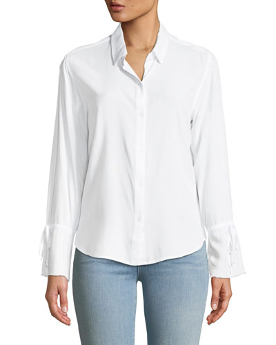Astrid Button-Front Long-Sleeve Top