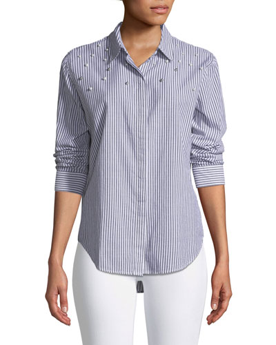 Taylor Button-Front Striped Cotton Shirt with Beaded Trim