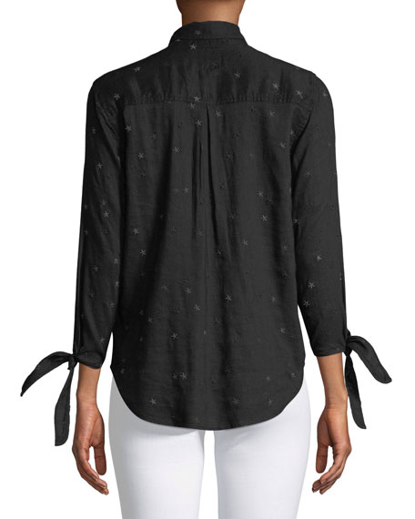 Robyn Button-Front Star Embroidered Shirt with Tie Cuffs
