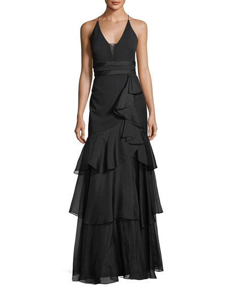 Aidan Mattox Sleeveless Tiered Chiffon Gown
