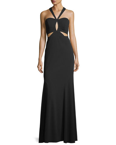 Crepe Cutout Halter Gown