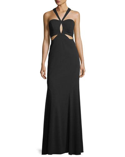 Crepe Cutout Halter Gown