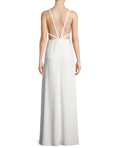 Crepe Cutout Sleeveless Gown