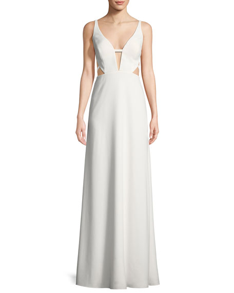 Aidan by Aidan Mattox Crepe Cutout Sleeveless Gown