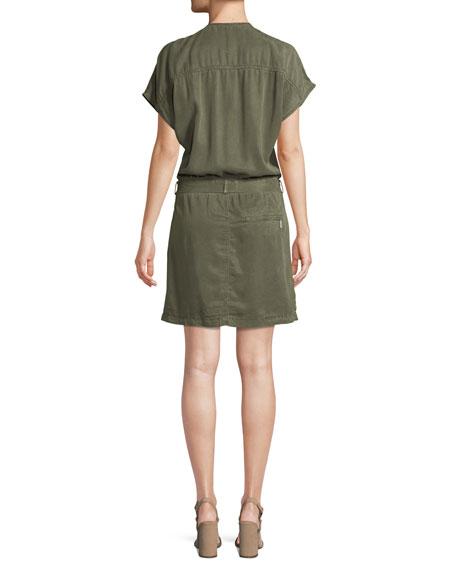 Cargo V-Neck Cap-Sleeve Dress