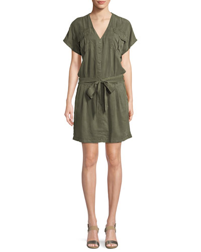 Cargo V-Neck Cap-Sleeve Dress