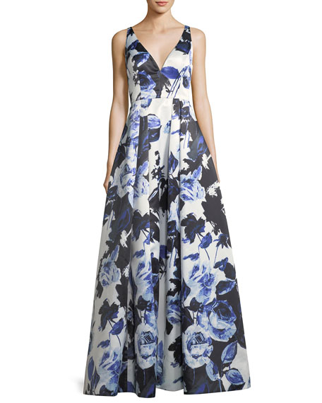 Floral-Print Satin Ball Gown