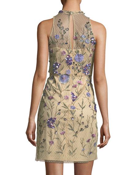 Embellished Floral Lace Mock-Neck Mini Dress