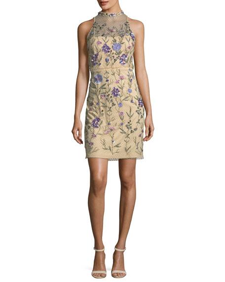 Aidan Mattox Embellished Floral Lace Mock-Neck Mini Dress