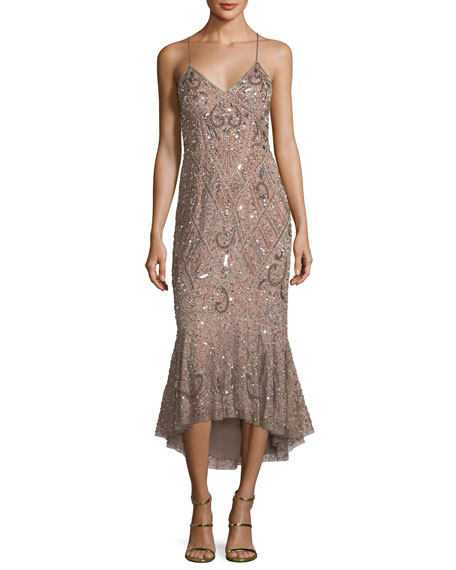 Aidan Mattox Beaded Mermaid Slip Midi Dress