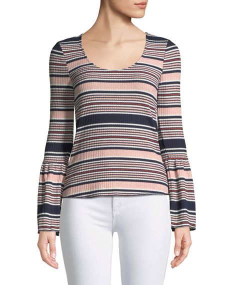 Scoop-Neck Bell-Sleeve Striped Knit Top