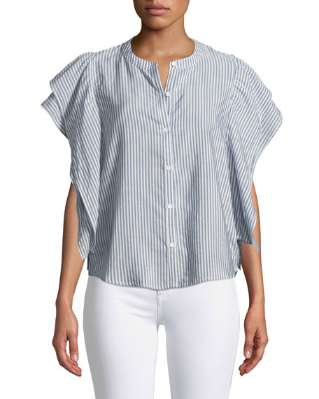 Paradise Cove Ruffle-Sleeve Button-Front Striped Top