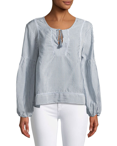Long-Sleeve Tie-Neck Striped Top