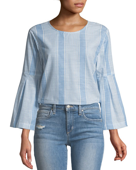 Striped Bell-Sleeve Cotton Top