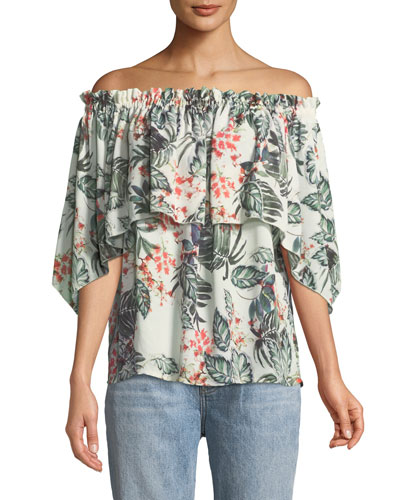 Palm-Print Off-the-Shoulder Blouse
