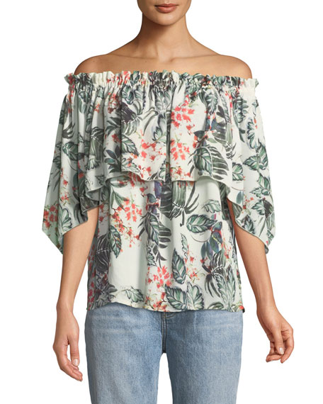 Palm-Print Off-the-Shoulder Blouse